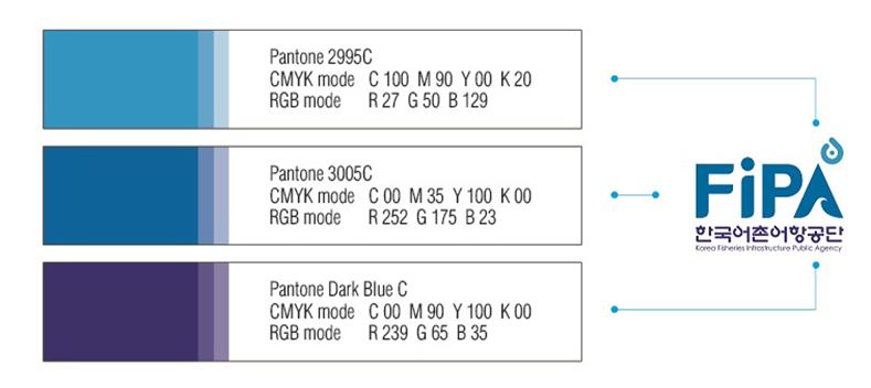 Pantone 2995C CMYK mode C 100 M 90 Y 00 K 20 RGB mode R 27 G 50 B 129, Pantone 3005C CMYK mode C 00 M 35 Y 100 K 00 RGB mode R 252 G 175 B 23, Pantone Dark Blue C CMYK mode C 00 M 90 Y 100 K 00 RGB mode R 239 G 65 B 35, FiPA 한국어촌어항공단